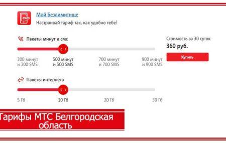 Тарифы МТС Белгород и Белгородская область 2020 года